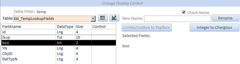 Select Integer fields to set DisplayControl to Checkbox