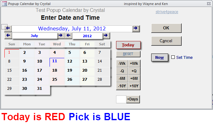 Popup Calendar -- Today is Red, Pick is blue